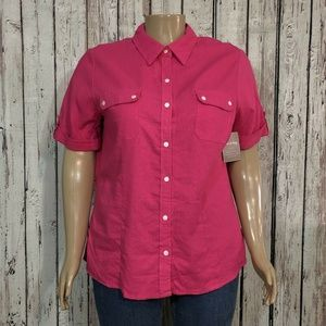 White Stag Hot Pink Linen Button Front Camp Shirt